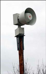 This tornado warning siren is just west of the intersection of 27th and Arkansas streets.