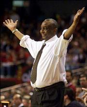 Temple coach John Chaney reacts near the end of a game his team won against Maryland in this Feb. 13, 2000, file photo. Chaney is one win away from 700 for his career, which the Owls could secure today against Massachusetts.