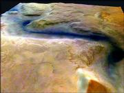 This picture released by the European Space Agency (ESA) shows a channel on Mars (Reull Vallis) believed to be formed by flowing water. Mars Express entered Mars' orbit Dec. 25 and began transmitting its first data from the planet this month. It has failed to pick up a signal from its surface probe, Beagle II, which had been scheduled to land Dec. 25.