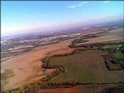 Farmland south of Lawrence is shown in a photo taken from an Unmanned Aerial Vehicle produced by Lawrence-based KalScott Engineering. The company is designing several unmanned aircrafts for government agencies, including the Department of Defense and NASA.