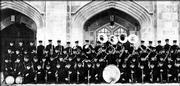 Members of the marching band at Kansas University line up for a group shot in front of old Hoch Auditorium. This band performed in the 1930s.