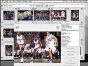 This is how Journal-World photographer Scott McClurg's laptop computer screen might look at halftime of a Kansas University basketball game. McClurg often writes captions and transmits photos via cell phone, ethernet or phone lines to keep up with the high volume of photos that run in the paper and online.