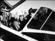 "George W. Bush sits in an F102 fighter jet while serving in the Texas Air National Guard in this undated photo. Questions about the president&squot;s National Guard duty in the 1970s continued Wednesday, prompting White House spokesman Scott McClellan to denounce the inquiries as ""gutter politics."""
