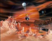 A space probe falls toward the surface of Titan in this artist's conception of one of Saturn's moons. Space scientists hope upcoming generations of probes can be sent to explore the oceans of the large, icy satellites orbiting the outer planets.