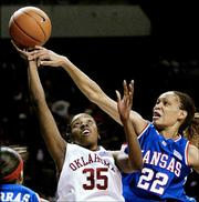 Oklahoma's Dionnah Jackson (35) shoots over Kansas University's Tamara Ransburg. Ransburg led the Jayhawks with 19 points in an 83-59 loss to the Sooners Saturday in Norman, Okla.