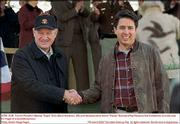 "Gene Hackman, left, and Ray Romano play rival mayoral candidates in the political comedy, ""Welcome to Mooseport."""