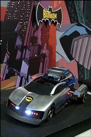 This Batmobile uses Video Encoded Invisible Light, or VEIL technology. It can receive signals from, and interact with, a Batman cartoon series as it is aired on TV. Batmobile was displayed Feb. 10 at the American International Toy Fair in New York.