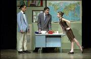 "West Junior High Junior Players, from left, Andy Dalager as Maxwell Smart, John Murray as Chief and Alex Schriner as Miss Finch perform ""Get Smart"" at West Junior High School. The performance was Thursday. The players will perform one more show at 7 p.m. Friday at West Junior High."