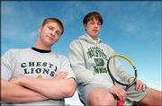 City senior tennis players James Garito, left, of Lawrence High, and Bryan Maygers of Free State High hope to lead their squads this season.