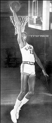 Wilt Chamberlain is shown in his Kansas University playing days in 1955.