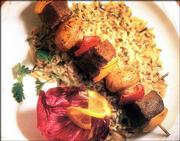 Beef and Pepper Kebabs can be made in about 30 minutes. The recipe calls for marinating beef cubes, mushrooms and bell pepper pieces in a lemon-honey-Dijon mustard mixture.