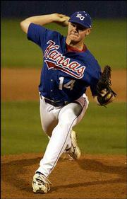 Kansas University pitcher Don Czyz throws against Wichita State. The Jayhawks beat the Shockers, 13-6, Wednesday at Hoglund Ballpark.
