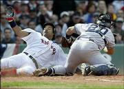 Boston's Manny Ramirez is tagged out at the plate by New York catcher Jorge Posada during the third inning. The Yankees won, 7-3, Sunday in Boston. Ramirez was retired when Ellis Burks grounded to third for a fielder's choice.