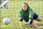 Sseabury keeper Lindsey Ahlen misses a Harmon shot on a penalty kick. The Seahawks fell to 1-3 with the loss Monday.