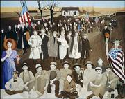 "Lawrence artist Wayne Wildcat painted this mural to commemorate the 1921 ""Amazon Army"" march by wives of striking coal miners in southeast Kansas. His wife, Tolly, has written a journal article, and Joan Stone, a Kansas University professor of dance, has choreographed a dance to bring renewed attention to the historic but little-known march."