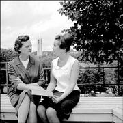 Emily Taylor, left, Kansas University's dean of women from 1956 to 1975, counsels a young woman in this 1959 photograph taken on the KU campus. Taylor, who worked to promote gender equity at KU and across the nation, died Saturday in Lawrence.