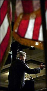Democratic presidential candidate Sen. John Kerry, D-Mass., speaks at the 2004 Democratic Leadership Council National Convention in Phoenix, Arizona.