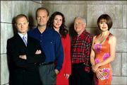 """The cast of NBC&squot;s """"Frasier"""" poses in this undated publicity photo. From left are David Hyde Pierce as Dr. Niles Crane, Kelsey Grammer as Dr. Frasier Crane, Peri Gilpin as Roz Doyle, John Mahoney as Martin Crane and Jane Leeves as Daphne Moon."""