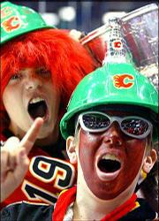 Calgary Flames fans cheer for their team during a game against San Jose on May 13 in Calgary, Alberta.