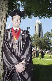 Irakli Mirzashvili, from the Republic of Georgia, experienced KU's commencement for the first time on Sunday.