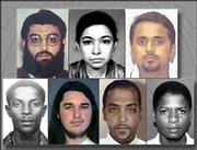 "Seven people being sought by the United States ""all present a clear and present danger to America"" as terrorist threats, Atty. Gen. John Ashcroft said Wednesday in Washington. From left are Amer El-Maati, Aafia Siddiqui and Adnan G. El Shukrijumah, Fazul Abdullah Mohammed, Adam Yahiye Gadahn, Abderraouf Jdey and Ahmed Khalfan Ghailani."