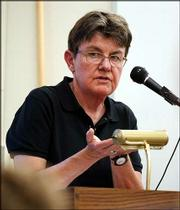 Poet Kay Ryan is shown during a reading of her poetry at the University of California, in Davis, Calif.