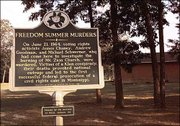 A historic marker outside Mount Zion Church in rural Neshoba County briefly tells of the 1964 deaths of three civil rights workers, Michael Schwerner, Andrew Goodman and James Chaney, who were killed June 21, 1964, after the burning of the church. The facility was rebuilt in 1965.