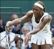 Serena Williams disputes a line call. Williams, two-time defending champion, defeated Tatiana Golovin, 6-2, 6-1, Tuesday at Wimbledon.