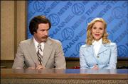 "Will Ferrell, left, portrays a popular San Diego newsman who is forced into sharing the spotlight with a young female reporter in ""Anchorman: The Legend of Ron Burgundy."""
