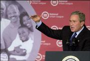 "President Bush addresses the National Urban League Conference in Detroit. Bush told the organization that the Republican Party ""has got a lot of work to do"" to gain black Americans&squot; votes but that Democrats might take their votes for granted."