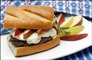 "Hamburgers feature a lot more than ketchup these days. These burgers feature cheese and pears. The recipe is from Rebecca Bent&squot;s ""Burgers: Fifty Recipes Celebrating An American Classic."""