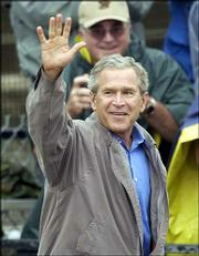 President Bush addresses a crowd in Cambridge. Ohio is seen as a key state in the presidential election.