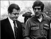 John Kerry walks with Sen. Ted Kennedy in this file photo, date unknown, in Washington. A recent attack on the war record of Democratic presidential nominee Sen. John Kerry, D-Mass., in a commercial by the Swift Boat Veterans for Truth, has heated the presidential politics surrounding the military records of both Kerry and President Bush.