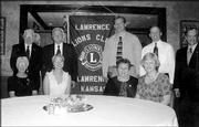 These are the 2004-2005 officers of the Lawrence Noon Lions Club. They were installed during a special meeting June 15 at Hereford House, Sixth Street and Wakarusa Drive. Pictured are, back row from left, Ken Rowen, secretary; Gary Beasley, membership director; John Harvat, second vice president; Don Edman, board of directors; and Don Dunn, first vice president; front row from left, Martha Roush, Lion tamer; Robin Jordan, tail twister; Mary Gordon, president; and Margaret Thorp, co-treasurer. Not pictured are Sue Neustifter, co-treasurer, Chris Landry and Richard Woodson, board members.