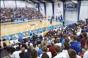 A full Horejsi crowd watches the action. The Jayhawks were preparing for an exhibition trip to Canada during Labor Day weekend.