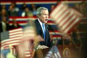 President Bush accepts the party nomination at the Republican National Convention. In his hour-long speech Thursday, Bush emphasized his ability to lead the nation in the war on terror and delineated differences between him and Democratic opponent John Kerry.