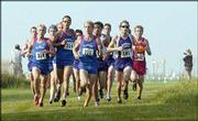 Three Kansas University runners lead the pack during the Bob Timmons Invitational. The Jayhawk men placed first and the KU women second in the team standings at the cross-country event Saturday at Rim Rock Farm.