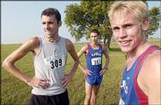 Kansas University runners Chris Jones, left, D.J. Hilding, center, and Tyler Kelly rest after finishing the race at the Bob Timmons Invitational. Kelly was the top KU finisher in the race Saturday at Rim Rock Farm.