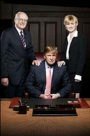 "Entrepreneur Donald Trump, center, is flanked by his associates George Ross and Carolyn Kepcher in this promotional photo for NBC&squot;s ""The Apprentice."" This will be the show&squot;s second season."