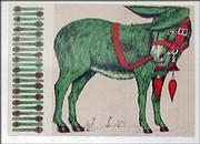 This Pin the Tail on the Donkey game was printed on fabric in the early 1900s. It was part of a collection of similar games sold at a recent Noel Barrett auction.