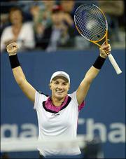 Svetlana Kuznetsova celebrates her victory in the U.S. Open women's tennis final. Kuznetsova defeated Elena Dementieva, 6-3, 7-5, Saturday night in New York.