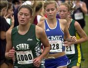 Free State High's Alysha Valencia leads the pack in the Jayhawk Invitational. Valencia placed sixth overall Saturday at Rim Rock Farm.