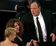 "Edie Falco, left, and James Gandolfini, right, failed to win top actor nods Sunday but were among the cast in the outstanding drama series ""The Sopranos"" at the 56th Annual Primetime Emmy Awards at the Shrine Auditorium in Los Angeles."