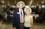 John and Cathy Ross attend the United Way of Douglas County 2004-2005 Campaign Kickoff. They helped plan the event as kickoff committee co-chairs. It was Sept. 15 at the Dole Institute of Politics.