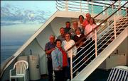 These couples from the Eudora area took an Alaskan cruise Aug. 9 on the ship Dawn Princess. The travelers were, from bottom to top of stairs, Kenny and Wanda Whaley, Norman and Darlene Musick, Geraldine and Jerry Wilcox, and Marilyn and Bob Lindeen. Pictured in back are Bob and Marilyn Lindeen.