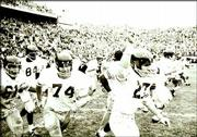 After a 23-13 victory over Nebraska in 1968, Kansas University's football team stormed the field in celebration. KU hasn't beaten the Huskers since.