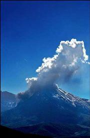 A column of steam and ash starts to rise from the crater of Mount St. Helens in Mount St. Helens, Wash., at the start of a predicted eruption. The plume rose for 20 minutes before blowing away in the wind.