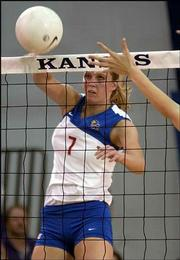 Kansas University's Emily Brown scores a kill against Kansas State. The 19th-ranked Jayhawks were defeated by No. 16 Kansas State, 3-2 (30-19, 23-30, 30-25, 22-30, 15-12) Wednesday at Horejsi Center.