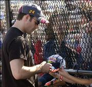 NASCAR Nextel cup driver jeff gordon signs in Autograph Alley at Kansas Speedway. Gordon appeared Saturday in Kansas City, Kan., in preparation for today's Banquet 400.