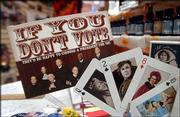 Anti-Bush playing cards and postcards are among the political items for sale at the Third Planet, 2 E. Ninth St. The store's offerings are limited to anti-Republican inventory.